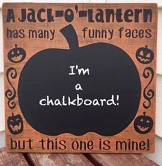 Wooden Jack-O-Lantern Chalkboard Funny Faces Sign! Great for Halloween fun! by jammyjanedesigns on Etsy