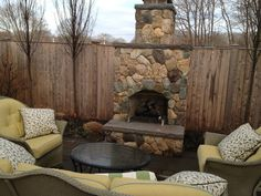 Another designed by Tricia Van Burskirk in completion with Paragon Outdoor Fireplace Designs, Backyard Fireplace, Backyard Ideas, Garden Ideas, Fuzzy Blanket, Warm And Cozy, Fireplaces, My Dream Home, Porches