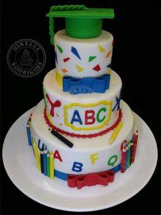 Resultado de imagem para bolo abc masculino Teacher Birthday Cake, Teacher Graduation Party, Teacher Cakes, Graduation Cupcakes, Christmas Cake Topper, School Cake, Pastel Cakes, Cake Factory, Occasion Cakes