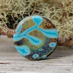 Southwest Flora   1 Focal Bead  K O Lampwork by koregon on Etsy, $18.00
