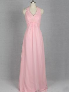 affordable pink halter chiffon long bridesmaid dress | Cheap prom dresses Sale