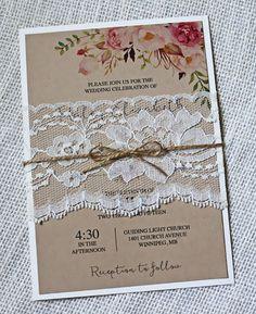 Casamento Boho - convite renda