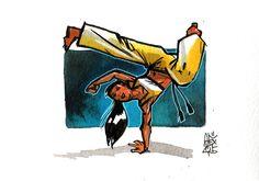Capoeira 852 Aquarelle sur papier 300gr / watercolor on paper 300gr 10.5  x 14.8 cm / 4.1 x 5.8 in