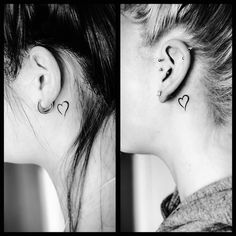 Have you come across any ear tattoos recently? Tiny ear tattoos are the latest rage in the tattoo scene. Find the most popular ear tattoo designs here! Small Quote Tattoos, Small Tattoos For Guys, Small Wrist Tattoos, Tattoos For Daughters, Finger Tattoos, Body Art Tattoos, Piercings, Piercing Tattoo, Piercing Eyebrow