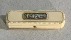 stock number 3238   English antique George III ivory and gold toothpick holder (box)