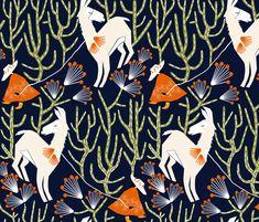 'The obstinate llama', custom made fabric design by English/Finnish designer Mirjamauno, © 2015