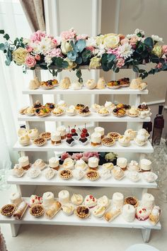 How gorgeous is this for an afternoon tea mastermind get together? Desert cake set ups can be fun! Someone hire me to do this display at their party or wedding bc I'm obsessed! 53 super Ideas for wedding reception food appetizers How about a shelf full Wedding Desserts, Mini Desserts, Wedding Cakes, Wedding Decorations, Elegant Desserts, Wedding Dessert Tables, Easy Desserts, Elegant Dessert Table, Dessert Table Backdrop