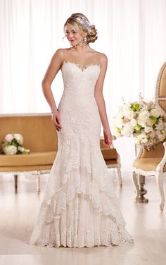 Vintage Wedding Dress from Essense of Australia with tiered lace and a nude illusion neckline.