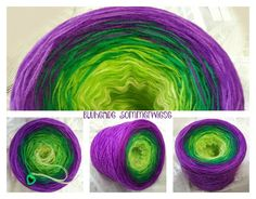 Blühende Sommerwiese Hochbauschacryl 3 fädig 5 Farben  Vanille Apfelgrün Grün Violett Flieder
