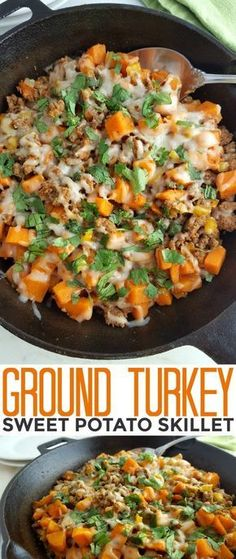 This Ground Turkey Sweet Potato Skillet recipe is a healthy gluten free meal that is full of flavor and hearty enough to feed your family quickly on busy weeknights!