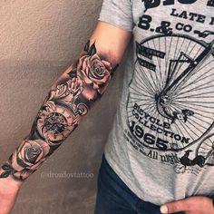"Dope work by Artist @drozdovtattoo #blackandgreytattoo #rosetattoo ""Wear it With Pride"" #tatdaddy #tattooedpapi #clothingbrand TatDaddy…"