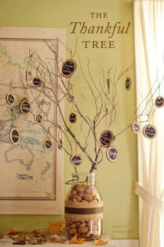 A thankful or gratitude tree. Definitely doing this for Thanksgiving with our guests!