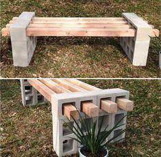 Bygga en enkel bänk med reglar och betongblock.