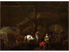 CAVALIERI IN UNA STALLA - REITER IN EINEM STALL Öl auf Kupfer. 43 x 63 cm. Abraham van Calraet lernte wahrscheinlich bei Albert Cuyp, dem wichtigsten Maler im...