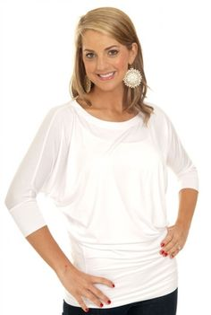 Another comfortable and classic must-have piece by Karlie! The 2503IVY comes in all different colors, but the white is sure to be a year round staple! Wear this top with leggings or skinny jeans with some classic nude flats for a classic look! It tuckers perfectly in to skirts, and layers gracefully over tanks. Gold jewelry and white are great together, but this look is a blank canvas for whichever items you want to pair it with!