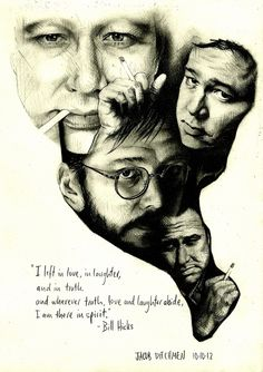 Bill Hicks Study - Graphite freehand crosshatching portraits