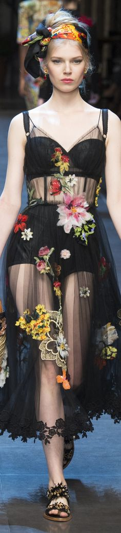 d&g s/s 2016. i love this sheer look with embroidered flowers and floral headwrap!