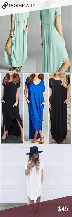 Mint Boho Oversize Pocket Maxi Stretchy Dress Mint Boho Maxi oversized stretchy loose fit dress  With pockets.  Can fit up to a size 16. Consider sizing down if you don't prefer an oversized loose fit.  So soft and oh so comfy!  96% rayon / 4% spandex   ALSO AVAILABLE IN NAVY! Dresses Maxi