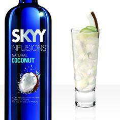 LIME IN THE COCONUT 1 1/2 oz. SKYY Infusions Coconut Vodka 3 oz. Coconut Water 3/4 oz. lime juice 1 full barspoon or tablespoon of granulated raw sugar 8 mint leaves  Combine mint, raw sugar, and SKYY Infusions Coconut in mixing glass. Muddle gently. Add lime juice and coconut water and fill with ice. Shake quickly for 2 seconds. Transfer into 12 oz. highball service glass with same ice and mint leaves. Garnish with grated coconut & fresh lime wheel.