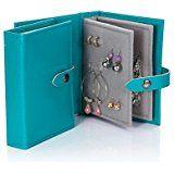 Portaorecchini a forma di libretto, un piccolo libro per tenere i tuoi orecchini al sicuro, colore: Blu Alzavola