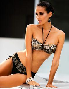 MADELEINE Bikini – Bandeau top with all-over print and decorative element upon the front.   #MADELEINEfashion #MADELEINE #Fashion #womensbeachwear #bikini