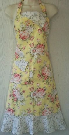 Retro Floral Apron Yellow Cottage Chic Roses by KitschNStyle
