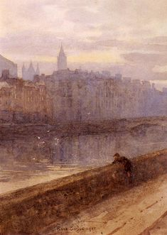 """Rose Barton """"Evening on the River Liffey with St John's Church in Distance"""" watercolor 1905"""