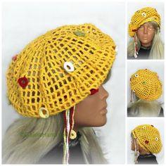 Crochet Irish Lace Summer Hat, Sun Hat,Crochet Lace Beret,Summer Beanie,Cotton Sun Hat,Woman,Ladies Girls ,Yellow Cotton by…