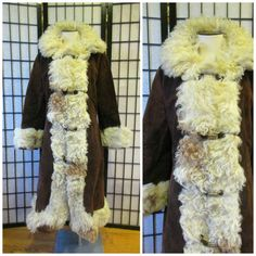 Vintage 1960s 1970s Coat Suede Curly Mongolian Lamb by girlgal6