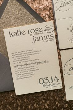 Fabulous Grey and Gold Glitter Modern Wedding Invitations. CYNTHIA Glitter Collection by Just Invite Me