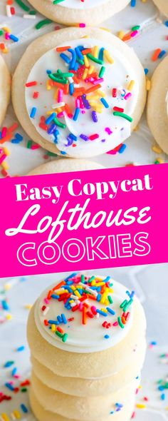 Easy Lofthouse Cookies Copycat Recipe - delicious soft, sweet cookies that taste just like iced cookies from your grocery store, but a million times better! Copycat Recipes Desserts, Easy Cookie Recipes, Sweet Recipes, Cookie Ideas, Yummy Recipes, Recipies, Iced Sugar Cookies, Sugar Cookie Frosting, Soft Frosted Sugar Cookies Recipe
