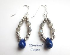 Handmade earrings made with gemstones and sterling silver.  Made by KariCloud Designs.  Holly Springs, NC.