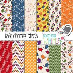 """Fall Digital Paper - """"Fall Doodle Birds"""" - autumn floral scrapbook paper in red, orange, yellow, navy & green - printable - commercial use"""