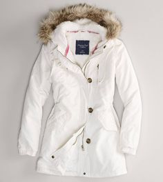 AE Hooded Military Parka in White | $129.95 American Eagle {This jacket is just too cute! Would love this for winter!}