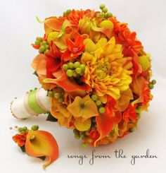 Autumn Wedding Bridal Bouquet and Groom's Boutonniere Calla Lilies, Dahlias, Berries, Cosmos in Fall Colors