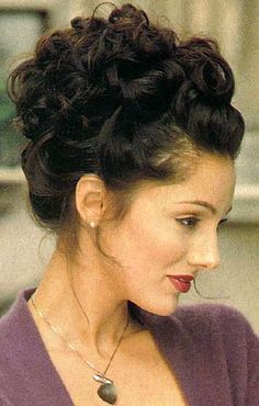 Curly And Formal Updos. Long Dark Brown Curly Hair Style Picture.