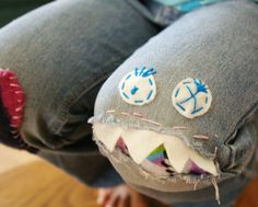 monster, knee patch, mending jeans. Is 40 too old to pull this off? I may just have to find out.