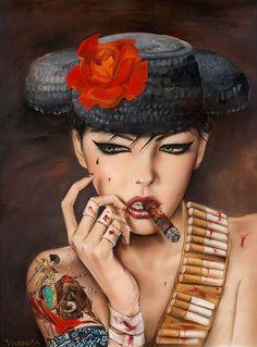Mata Adore You Forever-Smoking Red lip Sexy Girl hand painted high quality figure canvas paintings replica The DirtyLand pop art Graffiti Art, Nikko Hurtado, Art Pop, Tribal Arm, Cigarette Girl, Detailed Paintings, Tatoo Art, Gothic, Girls Hand