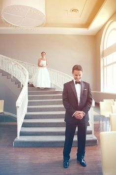 wedding, wedding photos, wedding photography, photography, wedding inspiration, groom, suit, bow tie, boutonniere, bride, wedding dress, first look