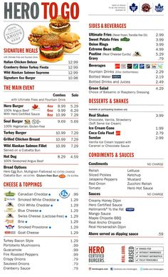 Hero Certified Burgers menu
