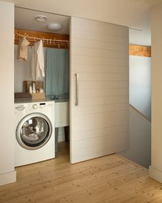 Have small laundry room? Got a boring laundry room? Need small laundry room design ideas? Passive House, Basement Laundry Room, Closet Doors, Room Closet, Hafele, Hidden Laundry, Passive House Design, Sliding Door Design, Laundry Design
