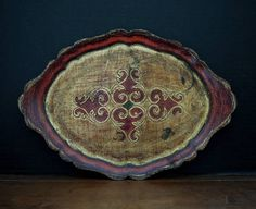 Vintage Italian Red and Gold Gilt Florentine Tole Tray / Wood