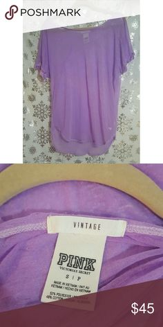 "Victoria's Secret Pink ""Vintage"" Purple Tee Extremely delicate and distressed fabric (this and see through) with some holes. Great condition. Fits very oversized. Victoria's Secret Tops Tees - Short Sleeve"