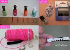 DIY Bobby Pins – Neon, Glitter and Sparkle | http://helloglow.co/diy-bobby-pins-neon-glitter-sparkle/
