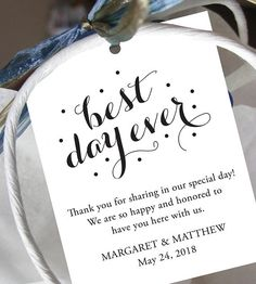 Set of 10 Best Day Ever Wedding Welcome Bag Note Gift Tags