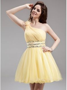 A-Line/Princess One-Shoulder Short/Mini Tulle Charmeuse Homecoming Dress With Ruffle Beading Flower(s)