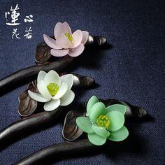 Antique hairpins classical Chinese Jade Hairpin hair Tan mumulan genuine Lotus hairpin original handmade jade hair accessories