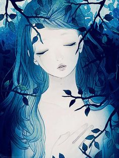 Don't know if this is from an actual anime series or just a random blue girl in the bushes.....but...... I really dig it. Beautiful picture.