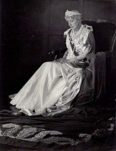 """Princess Marie-Louise at the coronation of Queen Elizabeth II. She was the member of the royal family to be styled """"Her Highness"""", and as such had a train different from any other."""