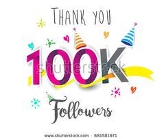 Thank you design template for social network and follower. Web user celebrates a large number of subscribers or followers. Thanks for 100k followers